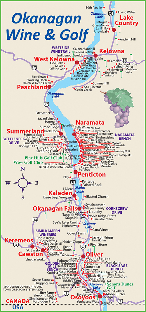 Okanagan Wineries Map Penticton and Area Map, Wine Map